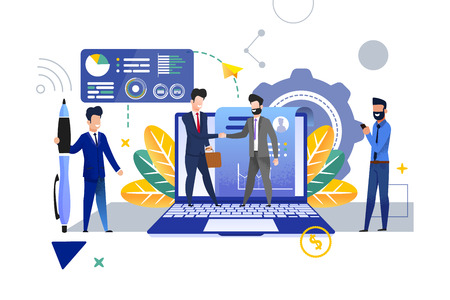 Personnel Department is Recruiting New Employee. Vector Illustration. Young Man in Suit with Briefcase Welcomes Man in Suit with Beard. Office Workers on Background  Laptop and Resume.