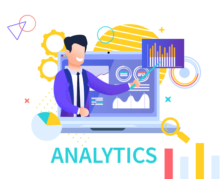 Flat Banner Analytics on White Background. Vector Illustration. Smiling Young Man in Business Suit on Background Laptop Examines and Explains Analytical Data on Example Pivot Graphic Table. Ilustração