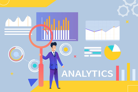 Vector Illustration Analytics on Blue Background. Happy Young Businessman in Stylish Suit and Tie Holds High Red Magnifier on Background Graphic Chart. Analytics Statistical Data and Indicators.