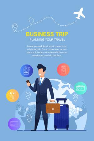 L'homme utilise une application mobile pour un voyage d'affaires. Entreprise d'illustration de bannière aidant à planifier votre voyage. Homme d'affaires en costume sur la planète de fond. Enregistrement Billets d'avion, Réservation d'hôtel Vecteurs
