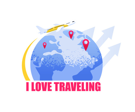 Flat Vector Banner Illustration i Love Traveling. Airline Plane Flying around Earth. Location Point Destination Rest. Vacation your Dreams. Family Trip to another Country. Isolated White Background