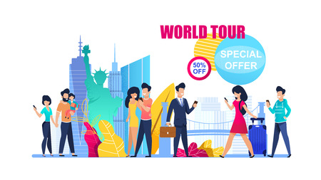 Banner Illustration Special Offer on World Tour. 50 Percent Discount on Group Travel. Family Holiday. Man in Suit Chooses Business Tour. Romantic Weekend Couple Love. Boy and Girl Hold Mobile Phone