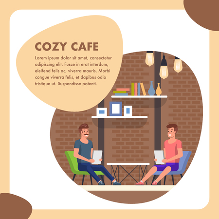 Cozy Cafe Flat Square Banner. People at Business Meeting Order Lunch Menu Page. Morning Visitor Coffe Bakery Shop with Indoor Table and Chair. Industrial Decor Comfortable Restaurant Place.