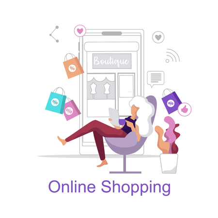 Online Shopping. Woman chooses Shopping Store home. Young Girl Sitting Chair with Laptop and orders Creative Mobile goods. Store Supports Social Networks. Discount Orders Online Store. Ilustração