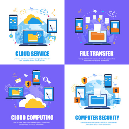 Cloud Service. File Transfer.Cloud Computing. Computer Security. Flat Banner Set color Background. Vector Illustration Cloud Service System on Background  Round Planet. Document flow. Illustration