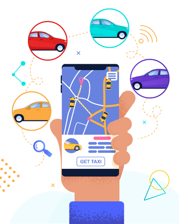 Flat Banner Customer Looking Free Car Nearby. Corporate Offer and Service. Safety Accessibility and Application for Choosing Car. Speed and efficiency Route Map Online. Urban Taxi for Traveling. Illustration