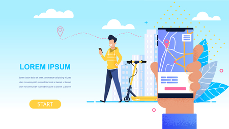 Man in Yellow Svitosh Ordering an Online Scooter. Horizontal Flat Banner. Vector Illustration on Blue Background. Foreground Hand is Holding Smartphone with Route Maps Application.