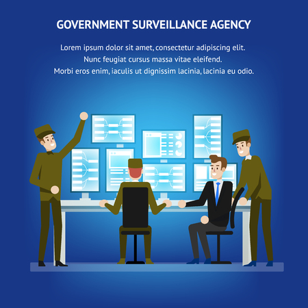 Government Surveillance Agency. Sequrity Room Desk. Cybersecurity Monitoring Technical Equipment. Military People near Operation Panel with Technical Professional. Tracking Analysis. Illusztráció