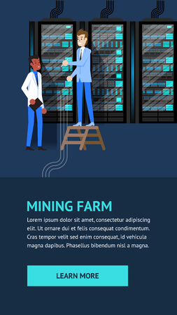 Mining Farm Crypto Currency Datacenter Administration. Man Character in Server Room. Cryptocoin Internet Payment Transaction Data. Altcoin Financial Monitoring. Vertical Rack. Security Transfer. Vectores