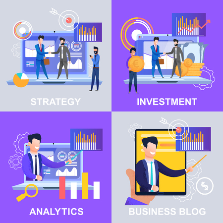 Set Strategy Analytics Investment Business Blog. Vektor-Illustration auf farbigem Hintergrund. Männer in Anzügen bauen Arbeitsbeziehungen auf und setzen Ziele und Richtungen für ein erfolgreiches Entwicklungsunternehmen.