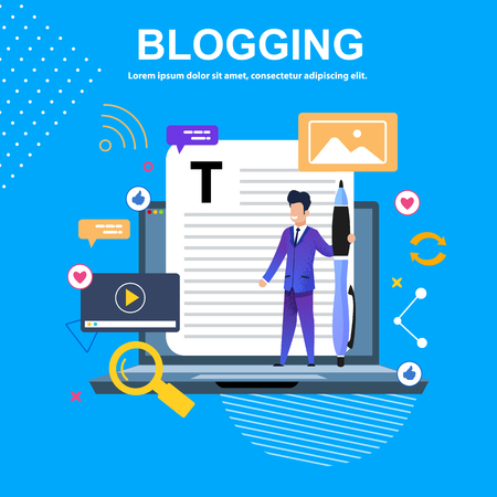 Banner Vector Flat Illustration Blogging. Young Guy in Blue Suit with Big Pen. Great Letter. Interesting Stories Get Lots Likes. Little Man is Standing on Laptop. Describes Interesting Vacation Trip.