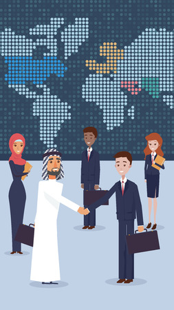 Vector Group Business People Standing in Office. Flat Illustration an Arab Man Nationality Welcomes Business Partner with Handshake. Woman Stands Holding Folder with Documents. World Map on Wall