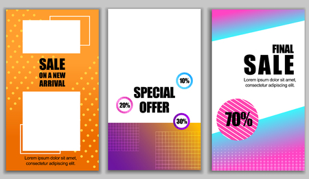 Flat Banner Set Sale on New Arrival. Final Sale 70 Percent. Special Offer 10 20 30 Percent. Vector Illustration on Background Graphic Ornament. Coupons and Vouchers for Special Trade.