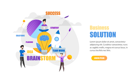 Horizontal Banner Business Solution. Team Work on Solving Interesting Problems. Serious approach Business. Teamwork Planning Ideas Strategy and will be Success. Flat Vector Illustration