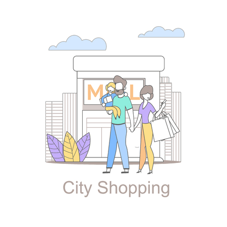 Family City Shopping is Becoming Popular. Young Family with Child Visited Different Shops and Boutiques. Online Shopping. Visit Stores City in Smartphone. Deals Promotions see on Mobile. Illusztráció