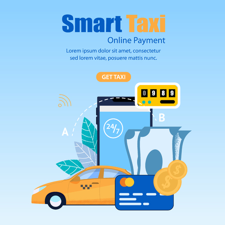 Square Flat Banner Smart Taxi. Online Payment. Vector Illustration. Order Taxi is Available Around Clock Every Day Week. Smartphone with an App for Ordering Taxi on Background Leaves.  イラスト・ベクター素材