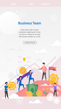 Vertical Flat Banner Business Team Management. Vector Illustration on Pink Background. In Foreground are Banknotes Yellow Shiny Coins. On Top Pink Mountain is Man in Stylish Jacket.
