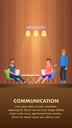 Communication Landing. Creative Environment Communicate about Marketing and Finance in Coworking Space Interior. Group People Learning Together. Global Comunity Business Team. Flat Banner.