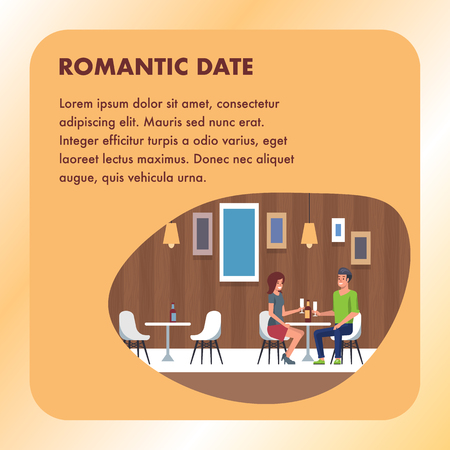 Romantic Date Dining at Restaurant. Square Banner. Two People in Romantic Relationship Enjoing Night in Cafe. Happy Valentines Dating. Man and Woman Smiling, Talking and Drink at Table.