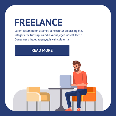 Young Freelance Online Shopping Internet Project Businessman Work Sitting in Coffe Shop. Men Person. Professional Web Technology Coder with Jorney Lifestyle. Creative Designer Freelancer. Ilustração