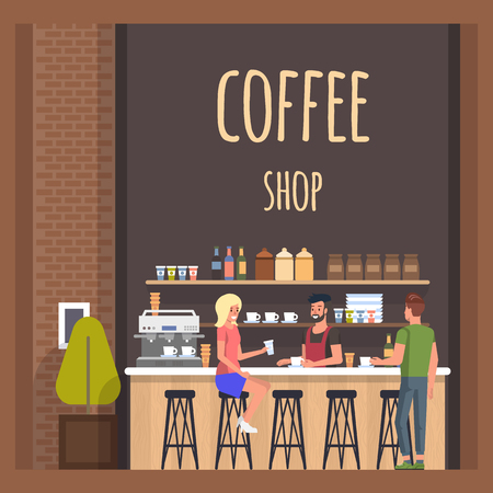 Coffe Shop with Barista and Visitors. Happy Lady and Man Meeting in Cafe and Conversation. Modern Cafeteria with Broun Bar Counter, Cups and Bottles, Espresso, Cappuchino Machine. Flat Banner. Illustration