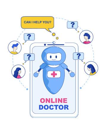 Docteur en ligne. Puis-je vous aider. Illustration vectorielle Les gens en ligne écrivent des réponses à la question de l'intelligence artificielle et développent la capacité d'apprentissage. Docteur de robot électronique d'Internet d'hôpital de visiteur heureux. Vecteurs