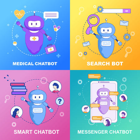 Flat Banner Set Medical Smart Messenger Chatbot Search Bot. Vector Illustration on Color Background. Artificial Intellect Contacts on Behalf Company in Order to Simplify Online Communication.