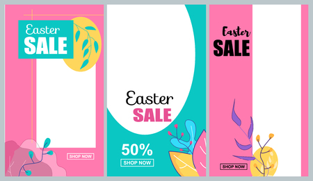 Vertical Flat Banner Set Easter Sale 50 Percent. Vector Illustration on Color Background. Pink Blue and Yellow Ornament Leaves Graphic Figures On Discount Coupons And Promotional Flyers.