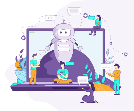 Laptop with Little Men Vector Flat Illustration. On Screen Gadget Chat Bot Artificial Intelligence Supports Communication of People. Young Guy with Smartphone and Girl Sending Message Social Network. Illustration