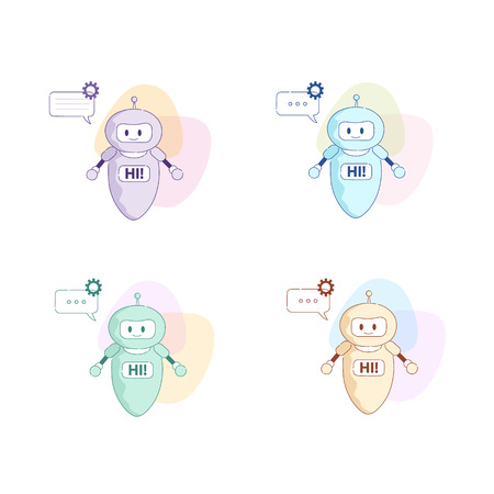 Set Vector Flat Illustration. Chatbot Created People Fashionable Color on Abstract Background. Electronic Brain Support System Artificial Intelligence Answers User Questions Solves Complex Problems. Çizim