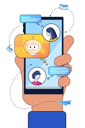 Vector Flat Illustration. Hand Smartphone on Blue Screen Guy Sends Message Girl Chat Bot Artificial Intelligence Assistant Social Networks and Massagers. Troubleshooting and Communication Assistance
