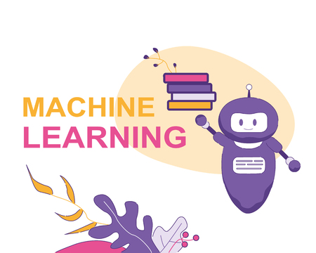 Machine Larning. Vector Banner Illustration. Blue Artificial Intelligence Chat Bot Keeps Books. Computer Brain Abilities and Information Contains Electronic Program Quickly Learn New Function