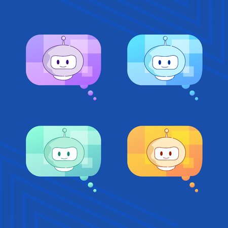 Artificial Intelligence Voice Assistant Vector Flat Illustration Set. Social Network Manager Send Messages Work Remotely and Offline Technologies Future Communication Simple and Convenient.