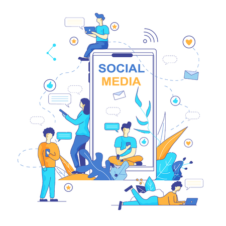 Chatbot Messenger Popular Trend in Social Media. Vector Illustration on White Background. Smartphone in Foreground. Young Men and Girls Correspond in Messengers using Artificial Intelligence.