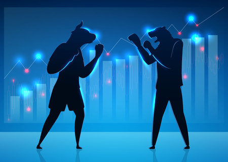 Businessmen, Brokers, Traders Vector Characters. Stock Market, Trading Concept. Silhouettes of Humanised Bull Fighting Bear Flat Cartoon Illustration. Animals in Boxing Gloves, Shorts. Diagram, Graph