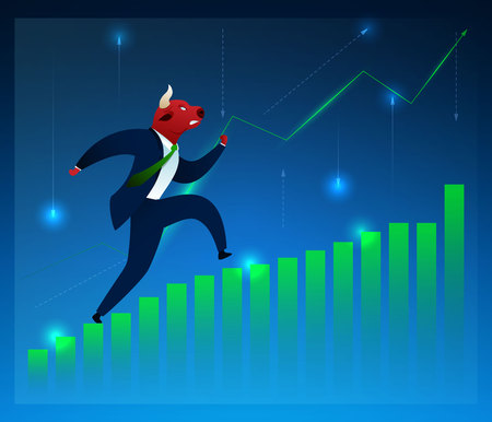 Businessman, Investor, Broker Vector Character. Bull Running on Diagram Flat Cartoon Illustration. Humanised Animals in Suit. Graph Growth. Stock Market, Manufacturing, Trading, Commerce Concept Ilustração
