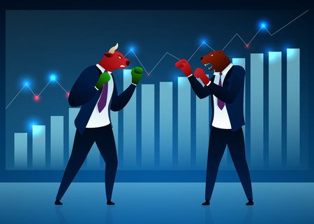 Businessmen, Investors, Vector Cartoon Characters. Bull Fighting Bear Flat Illustration. Humanised Animals in Suits, Boxing Gloves. Stock Market, Trading, Manufacturing Concept. Diagram, Graph Ilustração