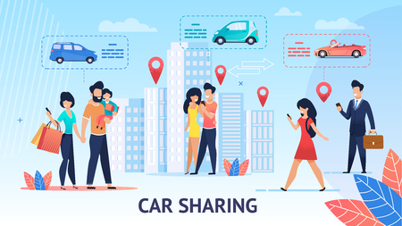 Car Sharing. Short Trips for Family Inside City. Vector Illustration. View around City Comfortable Electric Car. Modern Mobile Application Ordering free Car. Per Minute Rental of Electric Vehicles. Illustration