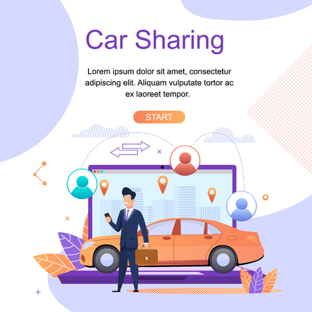 Car Sharing. Online Travel Search Services. Modern Mobile Application. Car Rental from Specialized Companies for intra City or short Trips. Social Networks between Driver and Passenger. Illustration