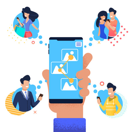 Flat Banner Man Sends Group People Share Photo. Vector Illustration on White Background. In Foreground Young Male Hand With Job Smartphone. Four Groups People take Photos on Internet.