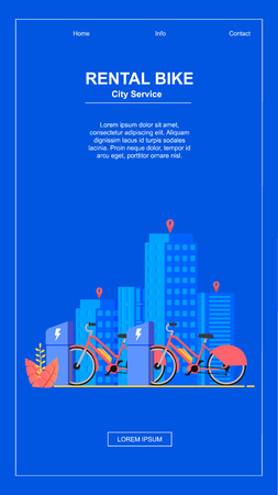 Vertical Flat Banner. Bike Rental City Service. Vector Illustration. Modern City on Blue Background. Rental Electric Bikes Order Online. Leave Bike Anywhere in City. Active Lifestyle.  イラスト・ベクター素材