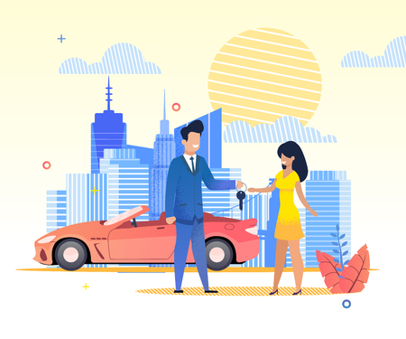 Flat Banner Man passes Car Keys Woman in Dress. Vector Illustration on Background  Urban Buildings and Blue Clouds and Yellow Sun. Rental Red Car in hot Summer. View Streets Big City.
