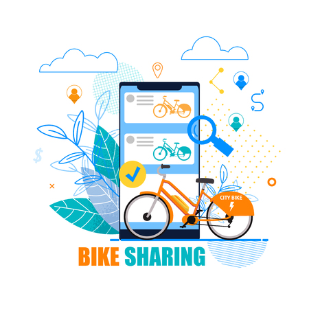 Flat Banner Bike Sharing on White Background. Vector Illustration. Orange Bike on Background Smartphone. An Application for Choosing Bike. Cheap Bicycle Access for Short Trips Around City.