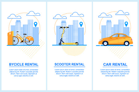 Flat Banner Set Bycicle Scooter Car Rental. Vector Illustration Background Dotted Lines and Dots. An Orange Bike in Parking Lot. Yellow Scooter in a Big City. Orange Car Background Urban Buildings. Ilustração
