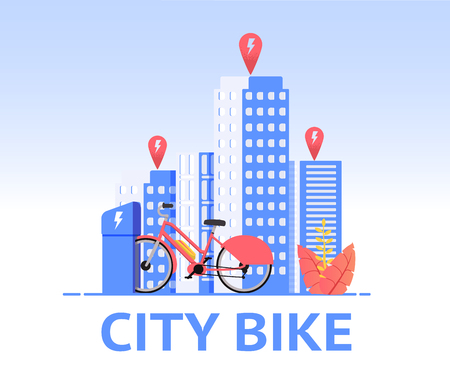 Flat Banner Red Female Urban Bicycle Stands on Street City. Vector Illustration. Bicycle Parking in Business District City. View Streets Large City With High Rise Buildings During Day.