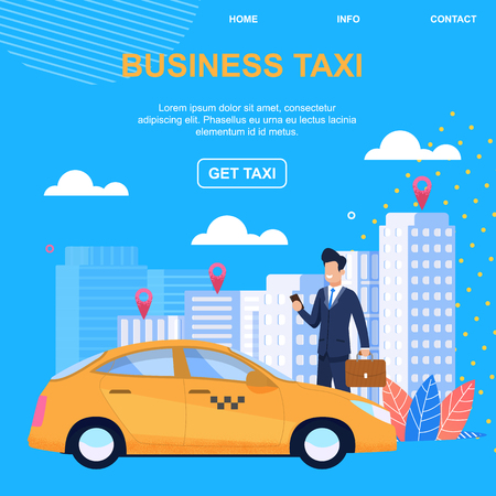 Business Taxi. Get Taxi. Individual Approach. Comfortable Luxury Car. Enter into Contract. Individual Approach. Service Experienced Drivers with Experience. Round clock Taxi Order. Standard-Bild - 121831004