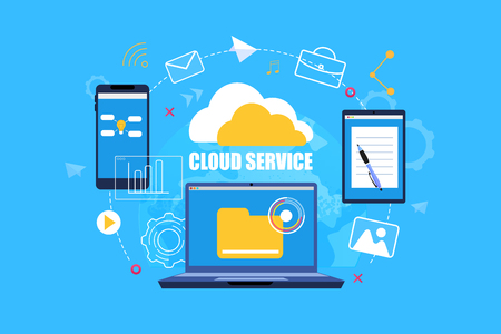 Flat Banner Cloud Service on Blue Background. Vector Illustration Cloud Service System. Laptop with Yellow Folder on Screen. Smartphone with Online Access to Documents. Tablet with Notepad and Pen. Illustration