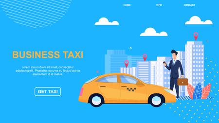 Flaches Banner-Business-Taxi. Modernes Automobil. Firmentaxi. Persönlicher Account-Manager. Tarife für Unternehmen. Empfangsanruf und Bewerbung. Inspektionsfahrzeuge für technische Gebrauchstauglichkeit.