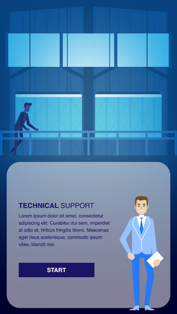 Technical Support Banner. Man Engineer in Datacenter Room Illustration. Technology Networking Device Electronic. Cloud Storage Service Datacenter Workplace. Maintenance, Development and Repair. Çizim