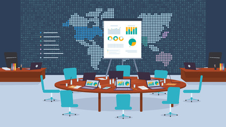 Conference Room Company for Business Negotiations. Flat Vector Illustration Round Wooden Table with Laptop. Workspace Office Corporation. Making Bargain. World Map on Wall. Profit Growth Chart
